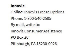 Innovis Freeze Options