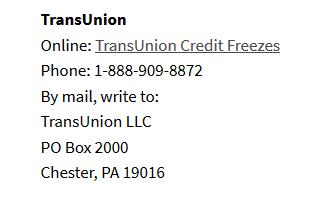 TransUnion Credit Freezes