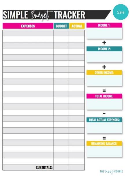 simple monthly budget template